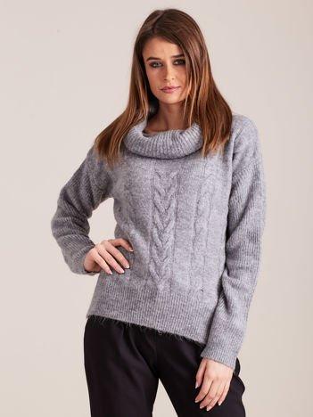 Szary damski sweter golf w warkocz