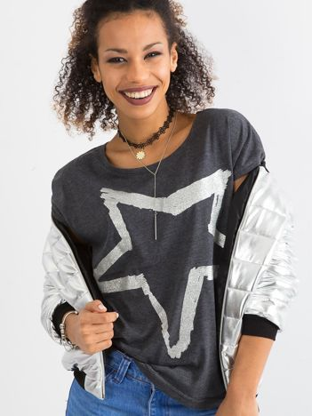 Szary damski t-shirt z printem