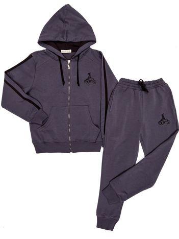 Szary dresowy komplet dla chłopca bluza i spodnie