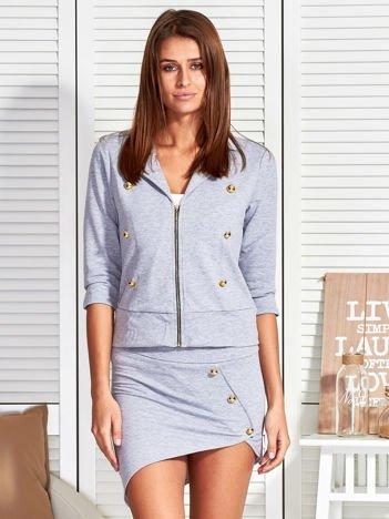 Szary komplet ze złotymi guzikami bluza i spódnica