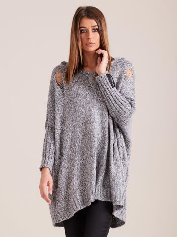 Szary luźny sweter z kapturem MAGPIE