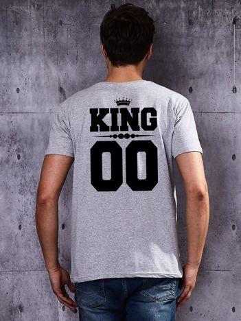 Szary męski t-shirt dla par z printem z tyłu KING