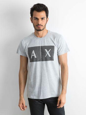 Szary męski t-shirt z nadrukiem