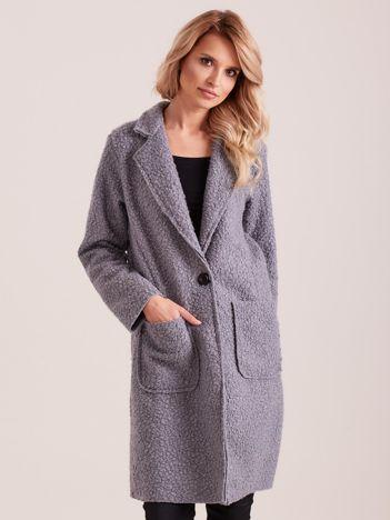 Szary płaszcz boucle