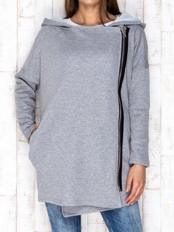 Szary płaszcz dresowy z asymetrycznym suwakiem