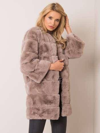 Szary płaszcz futrzany Greta