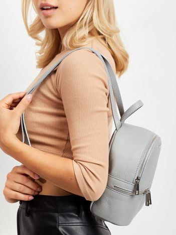Szary skórzany plecak damski