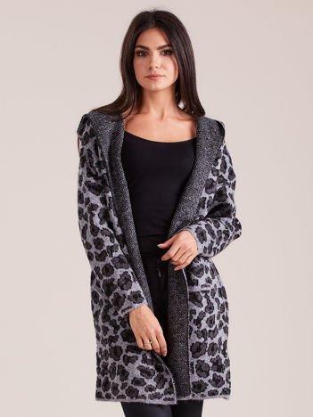 Szary sweter damski we wzory z kapturem