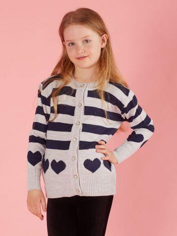 Szary sweter dla dziewczynki w paski