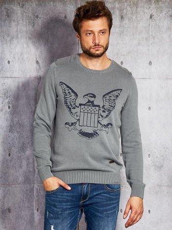 Szary sweter męski z orłem