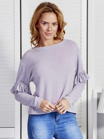 Szary sweter z falbanami na rękawach