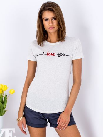 Szary t-shirt I LOVE YOU