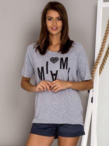 Szary t-shirt MIAMI BEACH