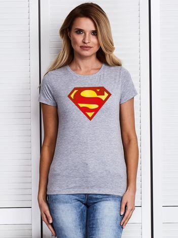 Szary t-shirt SUPERMAN logo