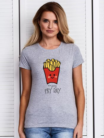 Szary t-shirt damski ENJOY FRY DAY
