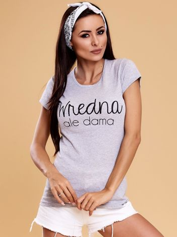 Szary t-shirt damski WREDNA ALE DAMA