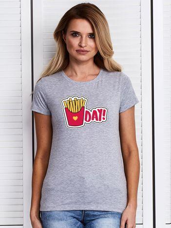 Szary t-shirt damski z frytkami
