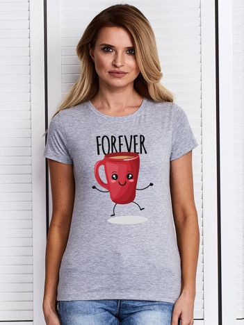 Szary t-shirt damski z kubkiem kawy