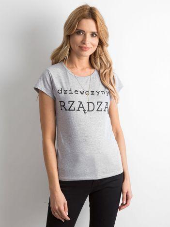 Szary t-shirt damski z napisem