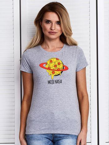 Szary t-shirt damski z pizzą