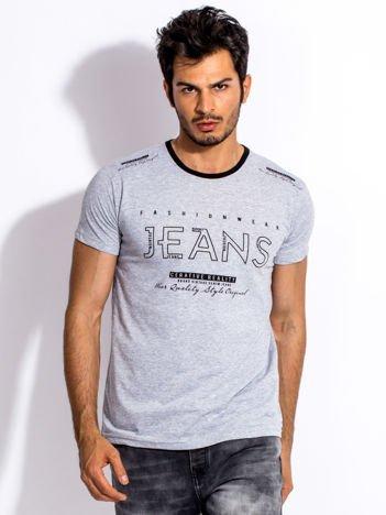 Szary t-shirt męski JEANS