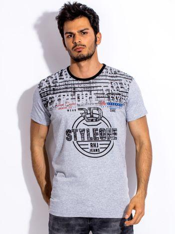 Szary t-shirt męski z okrągłym nadrukiem