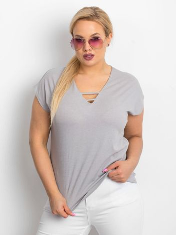Szary t-shirt plus size Darlyne