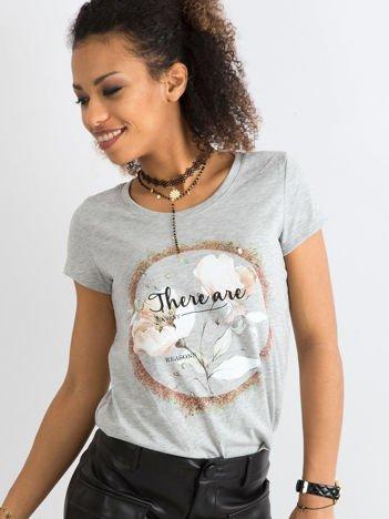 Szary t-shirt z bawełny z nadrukiem