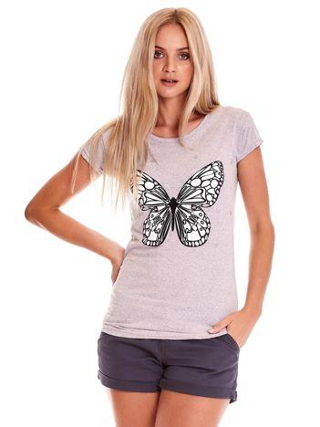 Szary t-shirt z motylem