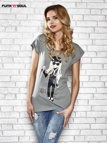 Szary t-shirt z nadrukiem Lady Gaga Funk n Soul