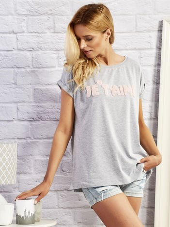 Szary t-shirt z napisem JE T'AIME