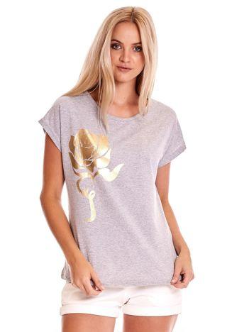 Szary t-shirt ze złotą różą