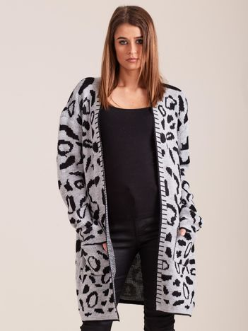 Szary wzorzysty sweter damski