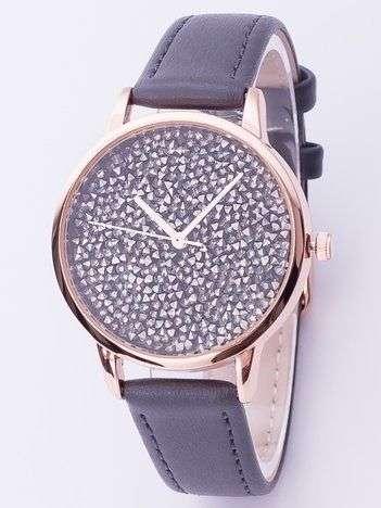 Szary zegarek damski z cyrkoniami na tarczy