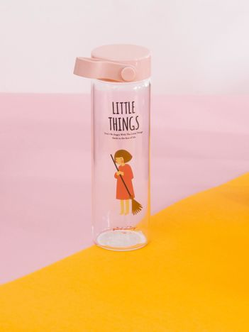 Szklana butelka na napój różowa