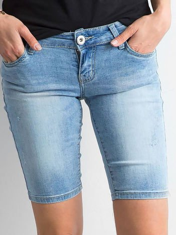 Szorty jeansowe z przetarciami niebieskie