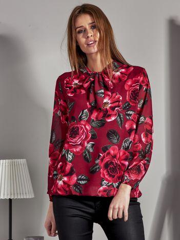 Szyfonowa bluzka w kwiaty z wiązaniem bordowa