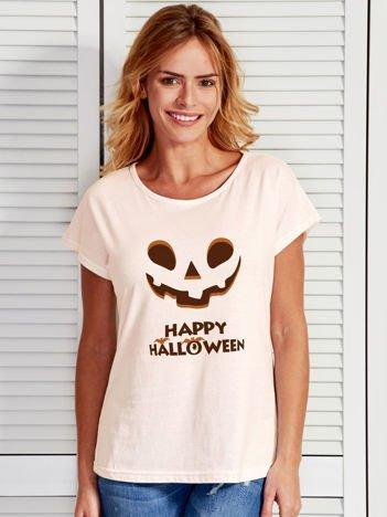 T-shirt HALLOWEEN z nadrukiem upiornej dyni ecru