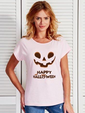 T-shirt HALLOWEEN z nadrukiem upiornej dyni jasnoróżowy