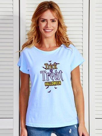 T-shirt Halloween z nadrukiem TRICK OR TREAT niebieski