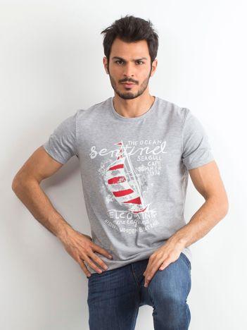 T-shirt bawełniany męski z nadrukiem szary