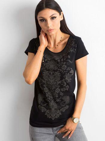 T-shirt bawełniany z nadrukiem czarny