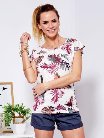 T-shirt beżowy z nadrukiem tropikalnym