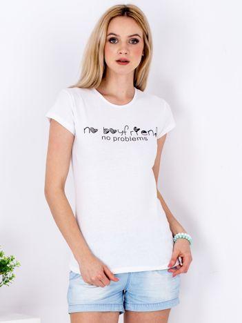 T-shirt biały NO BOYFRIEND NO PROBLEMS
