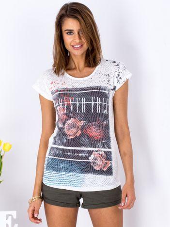 T-shirt biały z kwiatowym printem