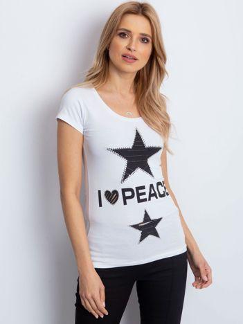 T-shirt biały z naszywką gwiazd