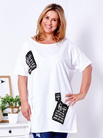 T-shirt biały z naszywkami PLUS SIZE
