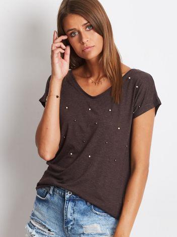 T-shirt brązowy z perełkami