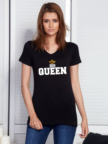 T-shirt czarny QUEEN dla par