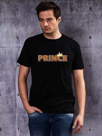 T-shirt czarny męski PRINCE z motywem dla par